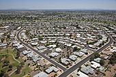 stock photo of snowbird  - Aerial view of rooftops and homes in the retirement community of Sun City - JPG