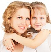 image of mother daughter  - Mother with daughter isolated on white - JPG