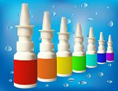 picture of nasal catarrh  - Medical bottle in a series of drip background - JPG
