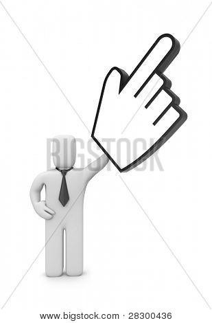 Businessman with hand cursor