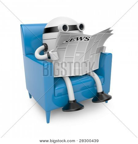 Robot read newspaper. Image contain clipping path