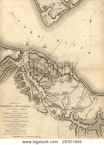 Mapa do cerco de Yorktown, Virgínia, 1781,
