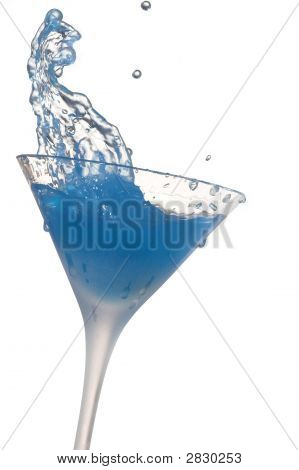 Cocktail Splash On White Background With Sitting Dog Abstract