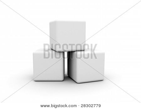 blank cubes on white background