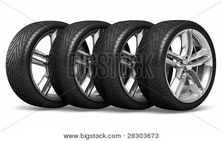 Set of car wheels