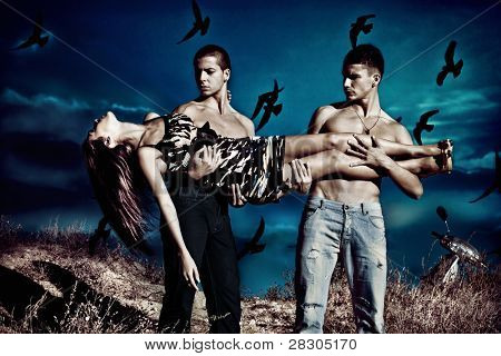 couple of men hold  young woman , night scene, birds fly over  night sky, small  amount  of grain added