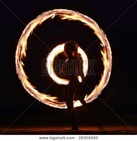Beautiful Fire Dance on the Beach at Night