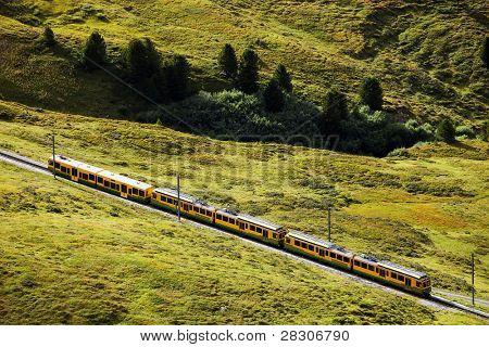 Jungfrau Bahn descending from Kleine Scheidegg Railwaystation, Switzerland