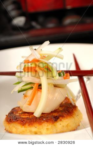 Scallop And Crab Cake Appetizer With Vegetables