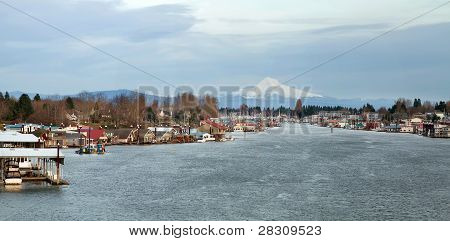 Marina Along Columbia River With Mount Hood View
