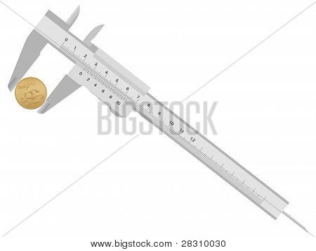 Caliper And Fifty Euro Cent