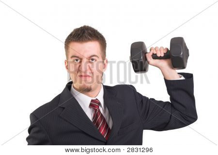 Businessman Is Weightlifting