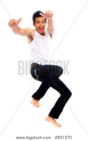 Happy Man Jumping Of Success