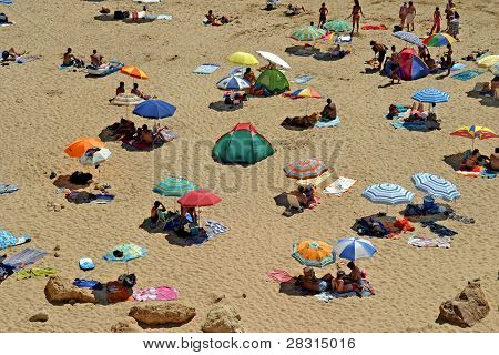 beach crowd in the summer