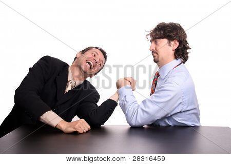businessman arm wrestling
