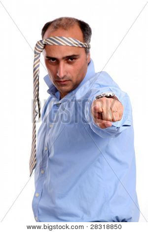 silly businessman over white background (focus on the hand)