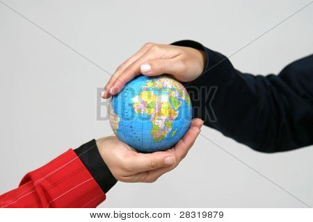young pretty woman with Earth, earth protection photo, grey background