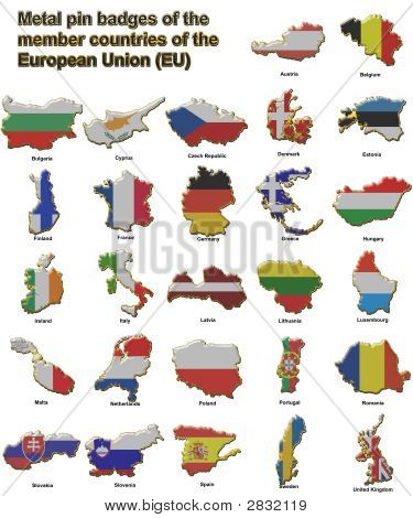 Eu Countries Metal Pin Badges