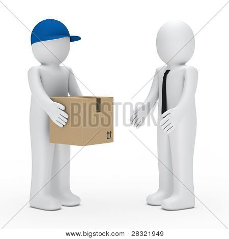 Man Give Businessman Package