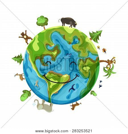 Cartoon Earth Illustration Isolated On