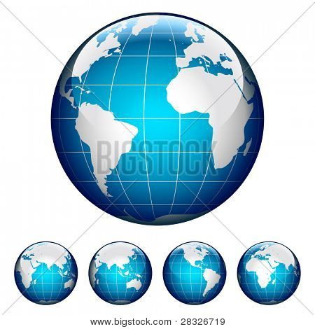 Set of glossy globes. Different views. Vector Illustration