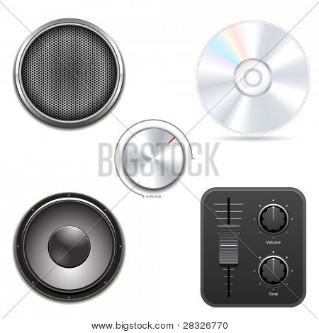 Set of audio items. Vector Illustration