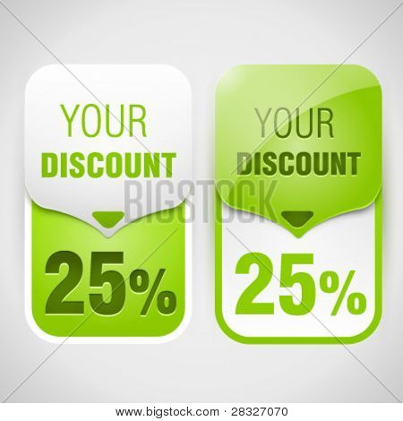 Green discount cards. Vector Illustration