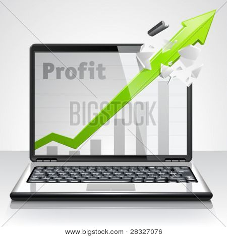 Laptop profit concept. Vector Illustration