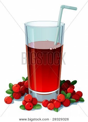 Glass of cranberry juice with a straw surrounded by cranberries.