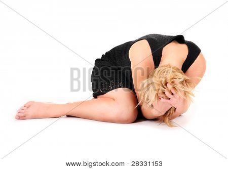 A picture of a frustrated woman lying over white background