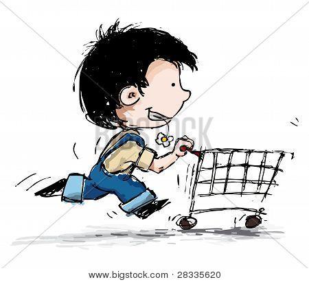 Smiling Boy Shopper