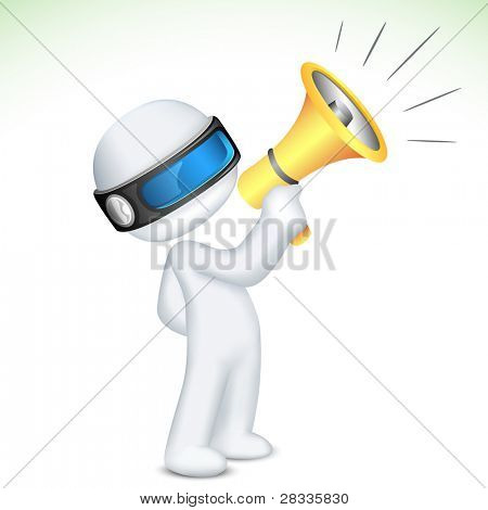 illustration of 3d man in vector fully scalable with megaphone