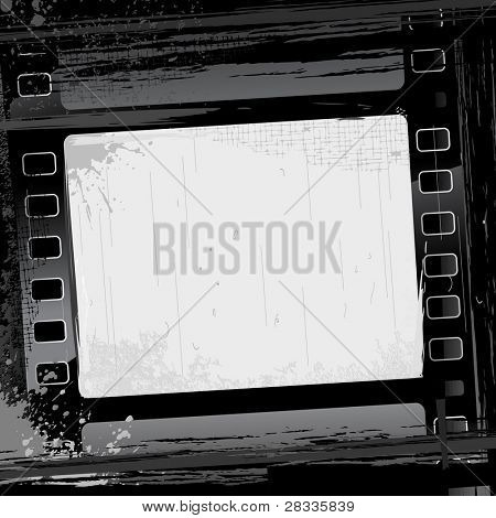illustration of film strip frame on abstract grungy background
