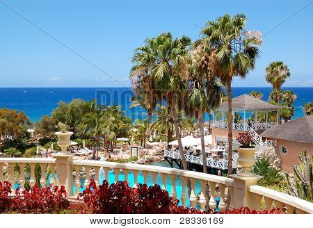 Swimming Pool, Open-air Restaurant And Beach Of Luxury Hotel, Tenerife Island, Spain