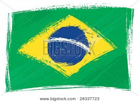 Brazil national flag created in grunge style