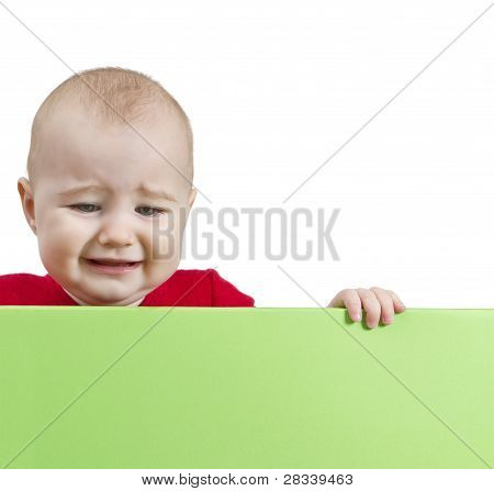 Sad Young Child Holding Shield