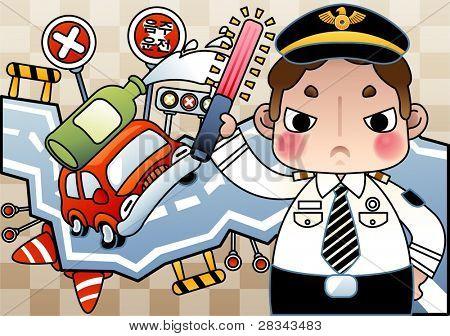 """Palavras coreano: """"Beba dirigindo"""" / campanha para a prevenção do motorista beber com raiva policial jovem"""