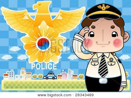 Happy Smiling Police Officer with Hand Salute on blue background