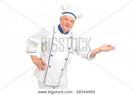 Portrait of smiling chef gesturing welcome isolated on white background
