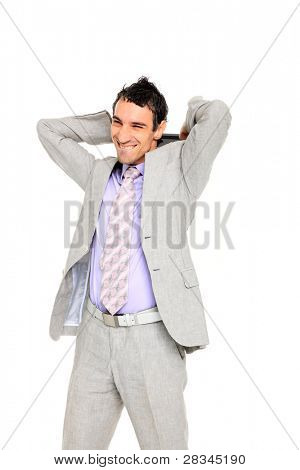 young business man standing mad at his tablet isolated on white background