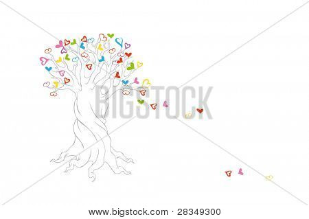 Decorative tree with falling hearts