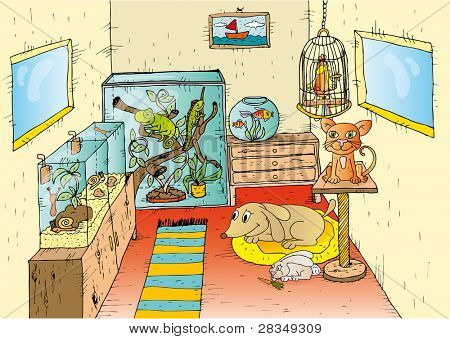 Illustration of pets in the room