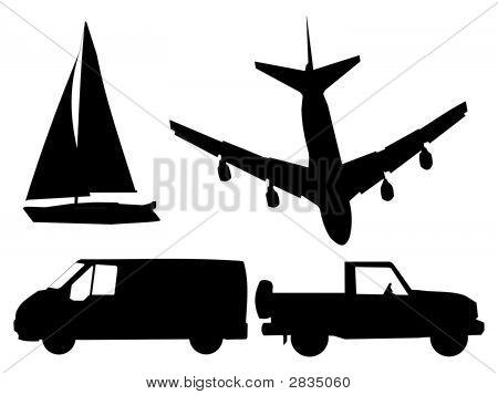 Transport-Silhouetten