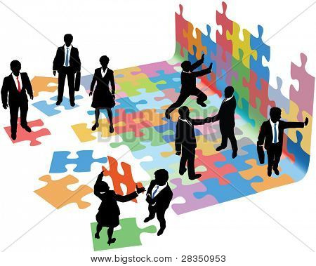 Business people collaborate to put pieces together find solution to puzzle and build startup