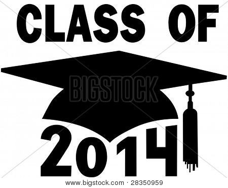 Mortar board Graduation Cap for a College or High School graduating Class of 2014.