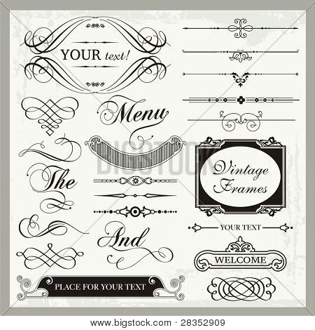 Vector set of vintage ornamental and page decoration calligraphic designs.