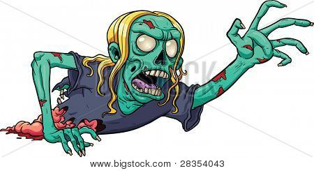 Crawling cartoon zombie. Vector illustration with simple gradients. All in  a single layer.