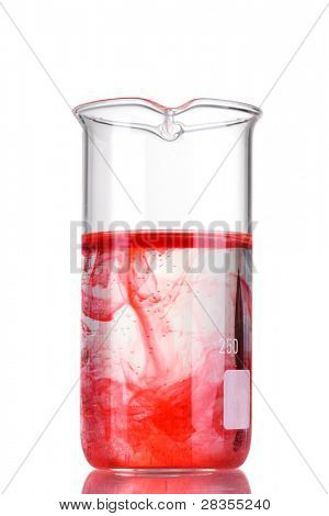 Test-tube with red liquid isolated on white