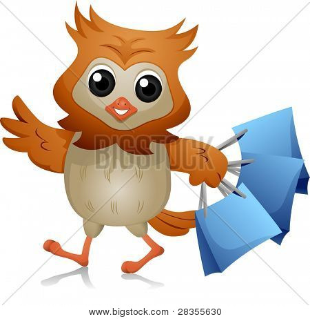 Illustration of an Owl Carrying Shopping Bags