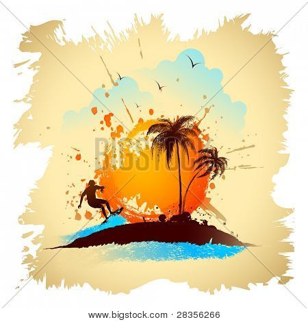 illustration of surfer on wave on sea beach with palm tree